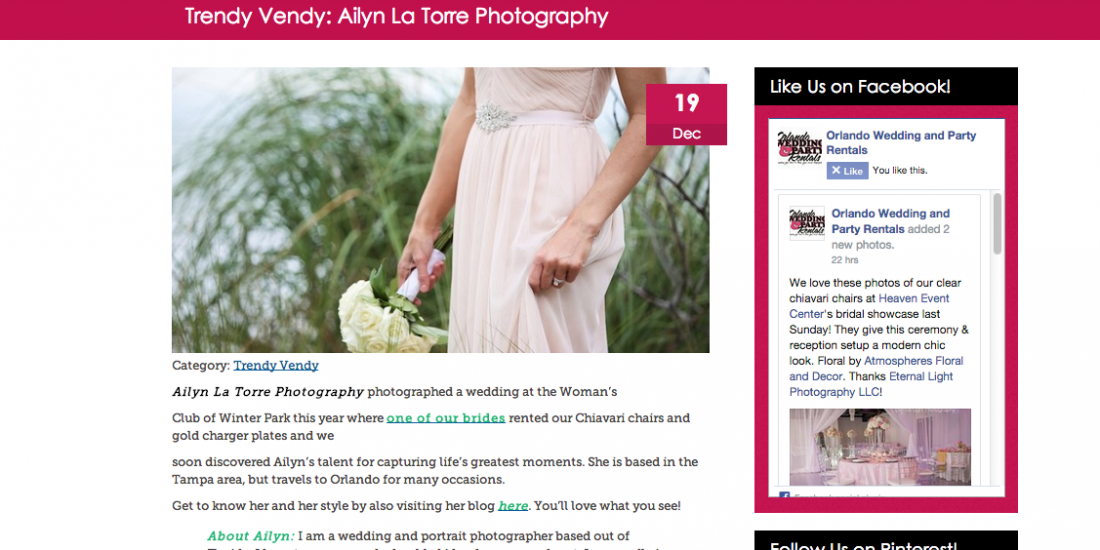 Orlando Wedding And Party Rentals.Featured Orlando Wedding Photographer Ailyn La Torre Photography